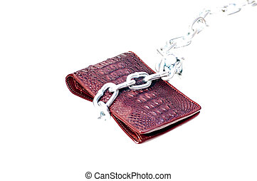 Brown wallet tie with a steel chain