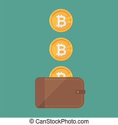Brown wallet with bitcoin cash. Concept for business, print, web sites