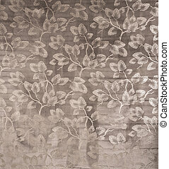 Brown Wallpaper with White Leaves on Branch Pattern Swatch