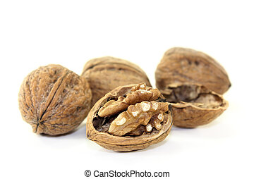 brown Walnuts on a bright background