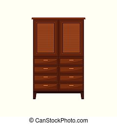 Brown wardrobe, interior design element vector Illustration on a white background