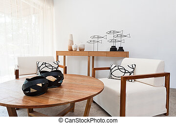 Brown white furniture in a living room