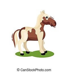 Brown-white horse standing on green grass, side view. Hoofed mammal animal. Wildlife theme. Flat vector design