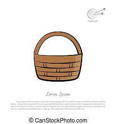 Brown wicker basket on a white background. Handmade products icon