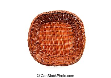 Brown wicker basket top view isolated