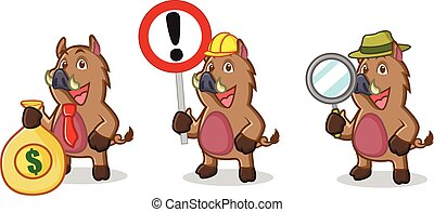 Brown Wild Pig Mascot with money