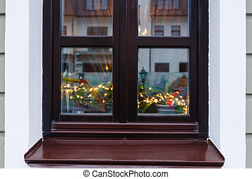 Brown window decorated