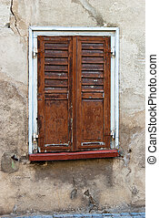 Brown window shutter