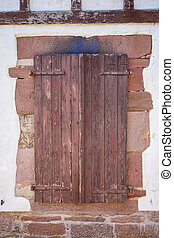 Brown window shutters