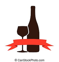 brown wine bottle with glass and ribbon icon