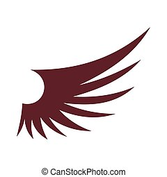 Brown wing icon, flat style