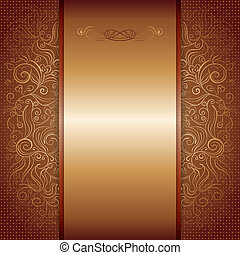 brown with gold damask pattern royal invitation card