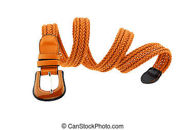 brown woman crochet belt isolated on white background