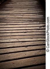 Brown Wood bridge close up with nobody