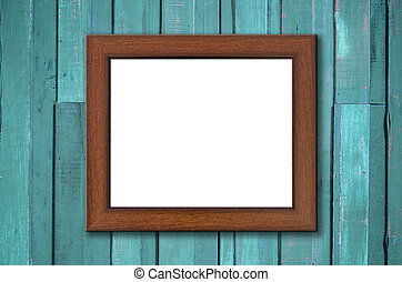 Brown wood picture frame on Green wall