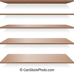 Brown wood shelves with shadows