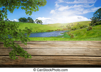 Brown wood table in summer farm green landscape.