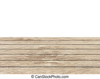 Brown wooden balcony floor on white background.