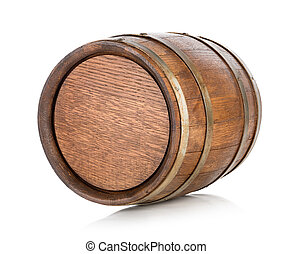 Brown wooden barrel - Wooden barrel isolated on a white...