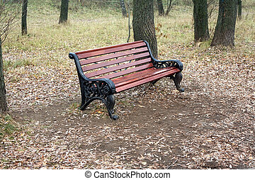 Brown wooden bench in autumn park