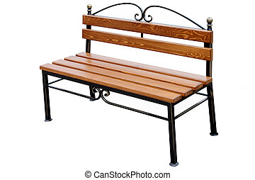 Brown wooden bench. - Brown wooden bench isolated on white...