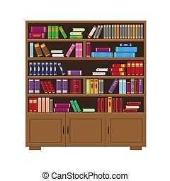Brown wooden big bookcase with colorfull books.