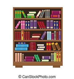 Brown wooden bookcase with colorful books.