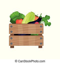 Brown wooden box full of fresh vegetables. Natural and healthy food. Organic products. Flat vector icon