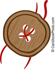 Brown wooden button, illustration, vector on white background.