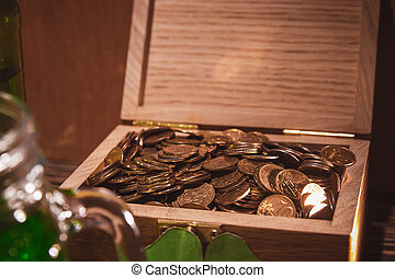 chest with old coins collection