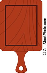 Brown wooden cutting board icon, flat style