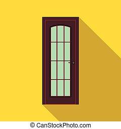 Brown wooden door icon, flat style
