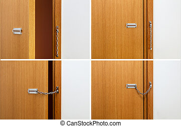 Brown wooden door with a silver chain