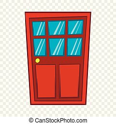 Brown wooden door with glass icon, cartoon style