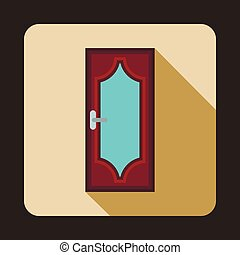 Brown wooden door with glass icon, flat style