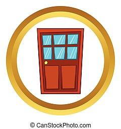 Brown wooden door with glass vector icon