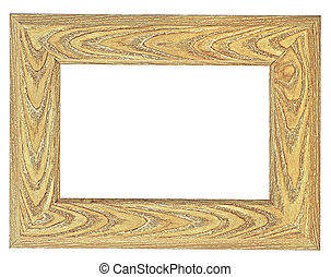 Brown wooden frame isolated on a white background. Classic wooden frame.