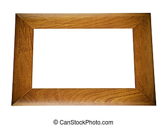 Brown wooden frame isolated on white background