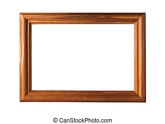brown wooden frame isolated on white backgrounds