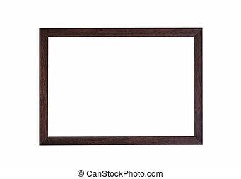 Brown wooden frame on white