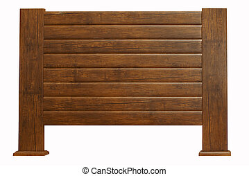 brown wooden headboard isolated on white - brown Vintage...