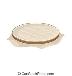 Brown wooden hoop for embroidery with white fabric. Tool for cross stitch. Flat vector design