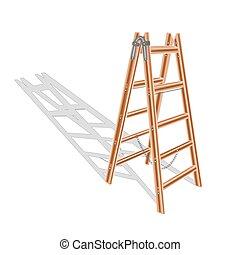 Brown wooden ladder vector