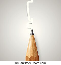 Brown wooden pencil, vector