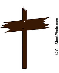 Brown Wooden Sign Art Illustration - Brown wooden sign on a...