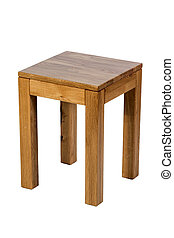 Brown wooden stool isolated on white background
