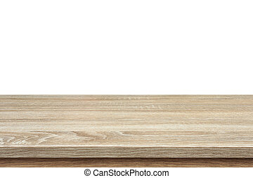 Brown wooden table or counter isolated on white background....