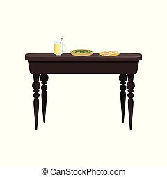 Brown wooden table with delicious food vector Illustration on a white background