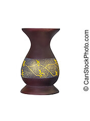 Brown wooden vase isolated on white background with clipping...