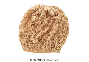 Brown wool hat isolated on white .